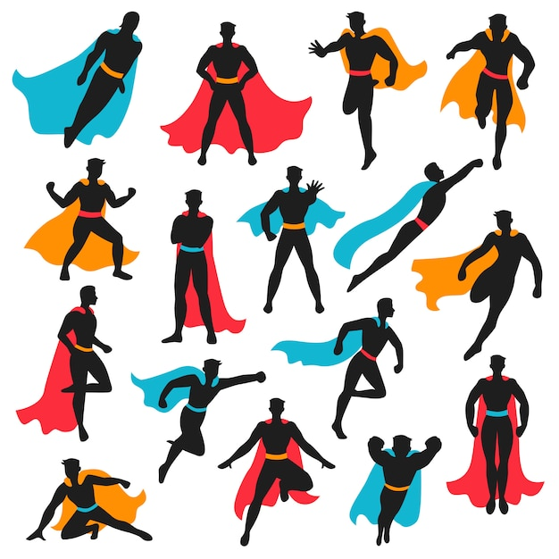 Zestaw Czarnych Sylwetek Superbohatera Darmowych Wektorów