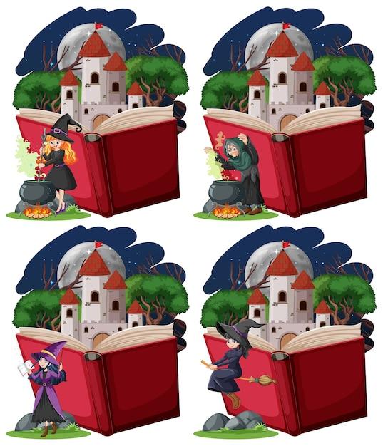 Zestaw Czarownic I Wieży Zamkowej Z Pop-up Book Stylu Cartoon Na Białym Tle Darmowych Wektorów