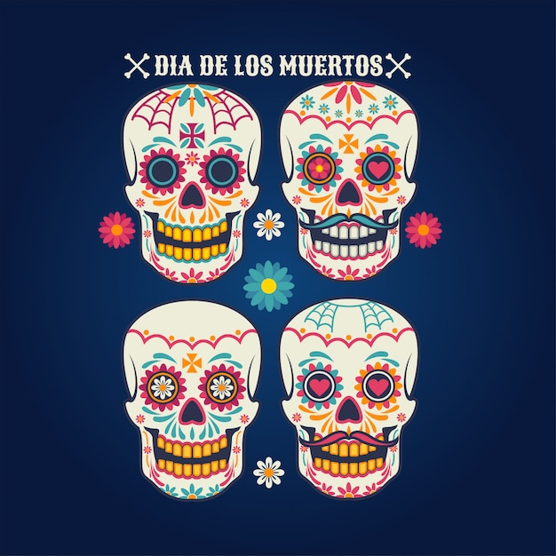 Zestaw czaszek dia de los muertos Premium Wektorów