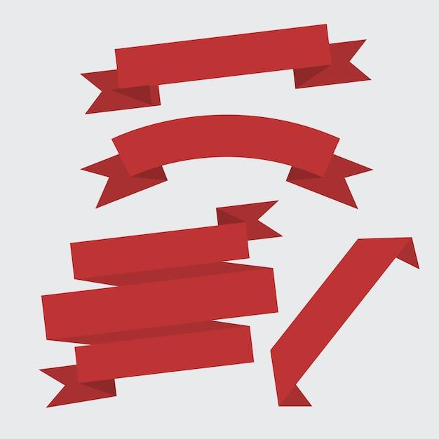 Zestaw Czerwoną Wstążką Premium Wektorów