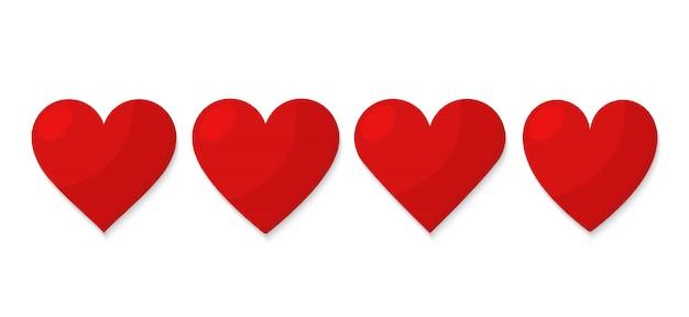 Zestaw Czerwone Serce Premium Wektorów