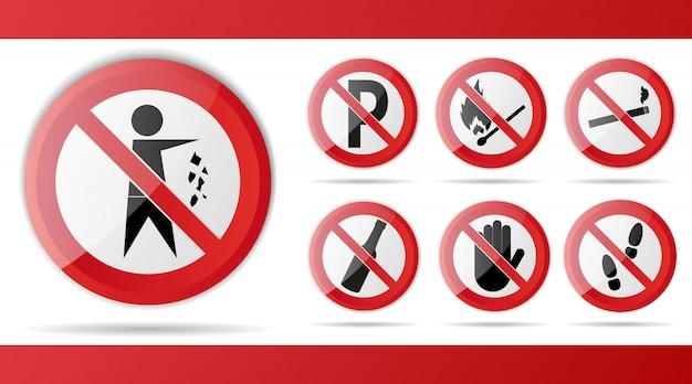 Zestaw Czerwony Znak Drogowy Zakazu, Do Ostrzeżenia I Uwagi. Premium Wektorów