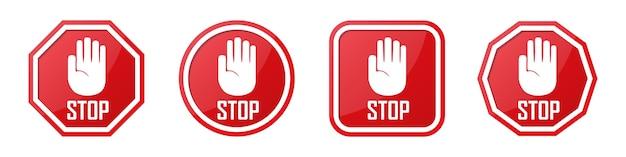 Zestaw Czerwony Znak Stop Dłoni W Różnych Kształtach Premium Wektorów