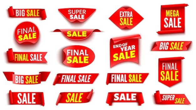 Zestaw Czerwonych Banerów Sprzedaży. Taśmy I Naklejki. Premium Wektorów