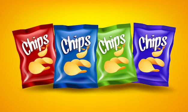 Zestaw Czerwonych, Niebieskich I Zielonych Opakowań Chipsów Z żółtymi Chrupiącymi Przekąskami, Koncepcja Reklamowa Premium Wektorów