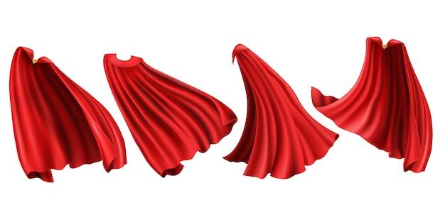 Zestaw Czerwonych Pelerynek Superbohatera Darmowych Wektorów