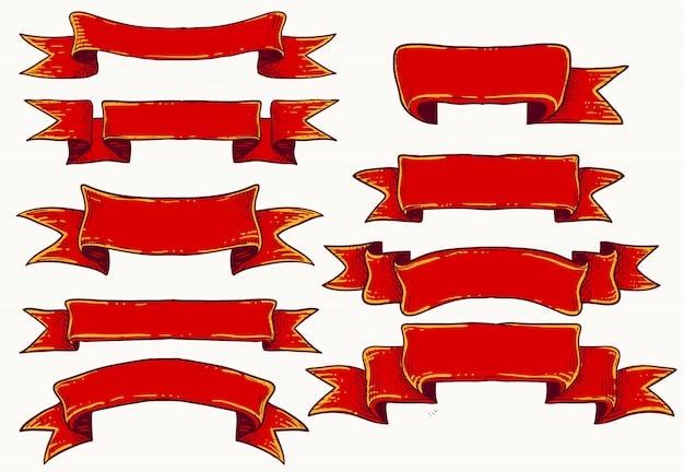 Zestaw czerwonych wstążek do musu templatechocol Premium Wektorów