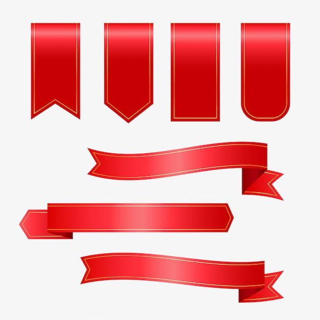 Zestaw czerwonymi wstążkami i tagami Darmowych Wektorów