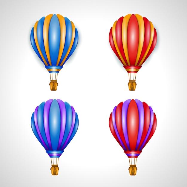 Zestaw Czterech Ilustracji Wektorowych Balonem. Ilustracja 3d Premium Wektorów
