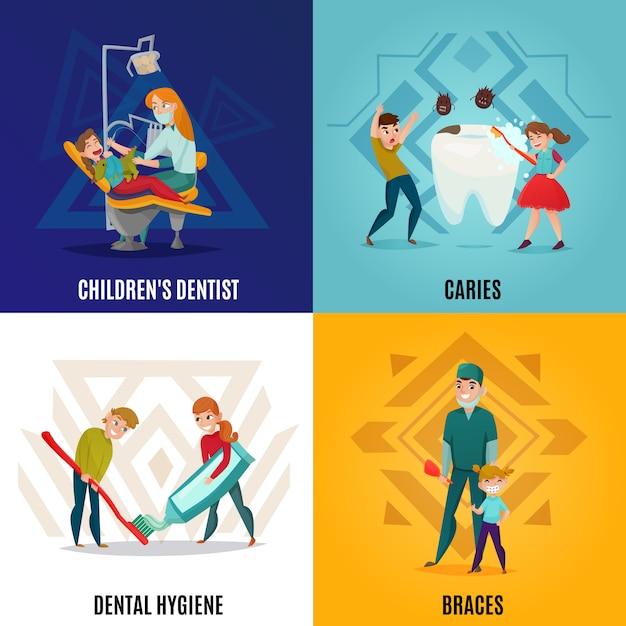 Zestaw Czterech Kwadratowych Koncepcji Stomatologii Dziecięcej Z Dziecięcą Dentystą Próchnicy I Opisy Aparatów Ortodontycznych Darmowych Wektorów