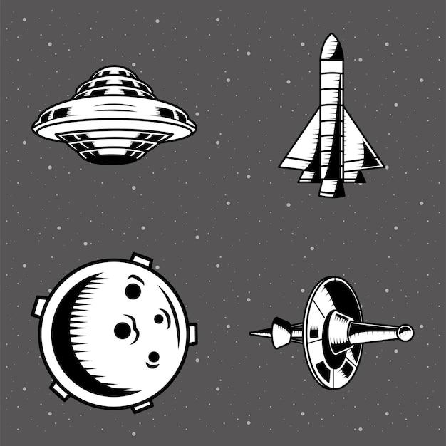 Zestaw Czterech Naszywek Kosmicznych Premium Wektorów