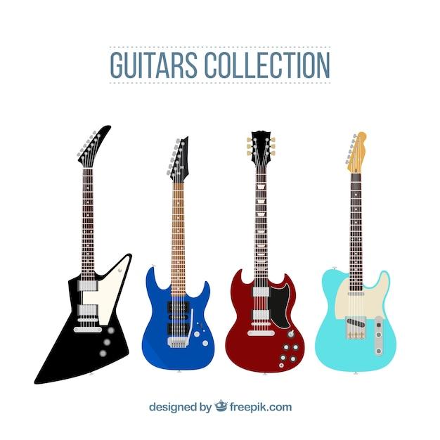 Zestaw czterech płaskich gitar elektrycznych Darmowych Wektorów