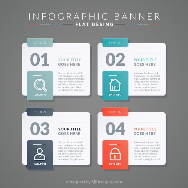 Zestaw czterech płaskich infographic banerów Darmowych Wektorów