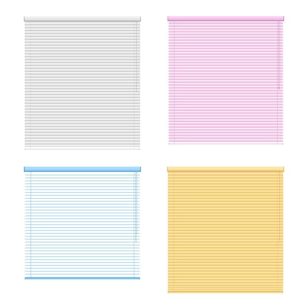 Zestaw czterech rolet okiennych kolorowych Darmowych Wektorów