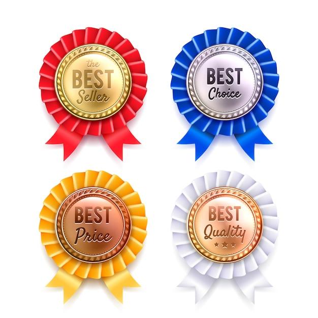 Zestaw czterech rund metalowych premium odznaki Darmowych Wektorów