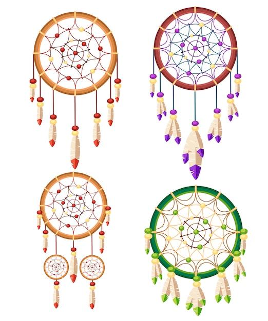 Zestaw Czterech Talizmanów Boho Dreamcatcher Native American Indian. Tribal. Magiczny Przedmiot Z Piórami. Modny Talizman W Stylu. Ilustracja Na Białym Tle Premium Wektorów