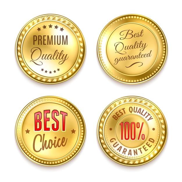 Zestaw czterech złotych okrągłych etykiet Darmowych Wektorów