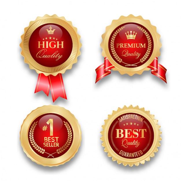 Zestaw Czterech Złotych Złotych Odznak Premium Premium Wektorów