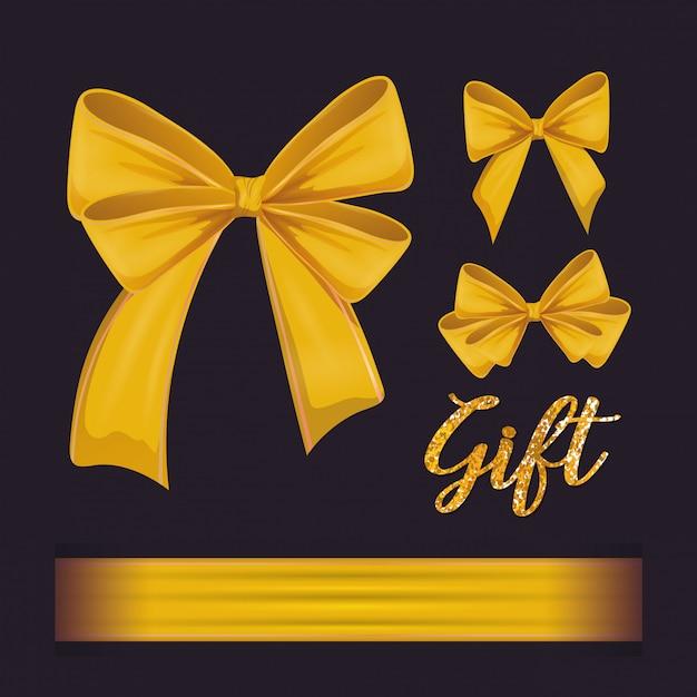 Zestaw dekoracji muszki żółtych wstążek Premium Wektorów
