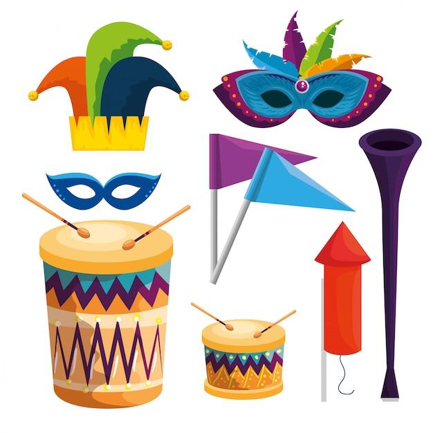 Zestaw dekoracji tradycji karnawałowej na obchody festiwalu Premium Wektorów
