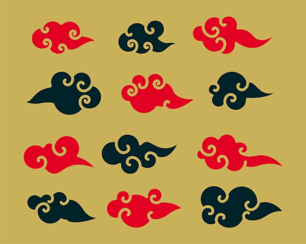 Zestaw Dekoracyjny Czerwony I Czarny Chiński Chmury Darmowych Wektorów