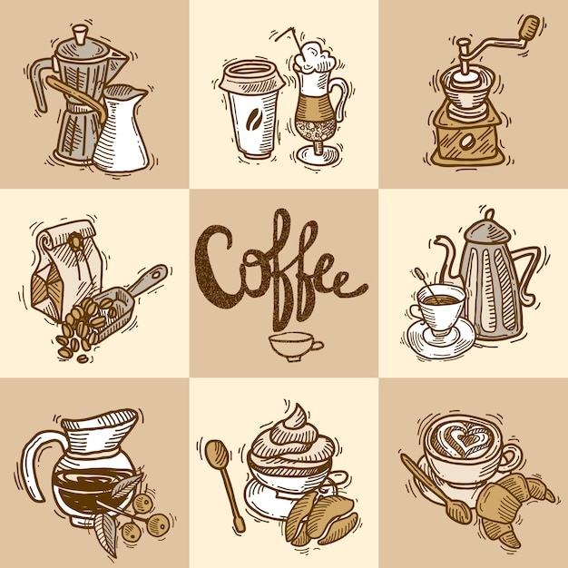 Zestaw dekoracyjny do kawy Darmowych Wektorów