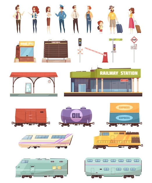 Zestaw dekoracyjny kolejowy Darmowych Wektorów
