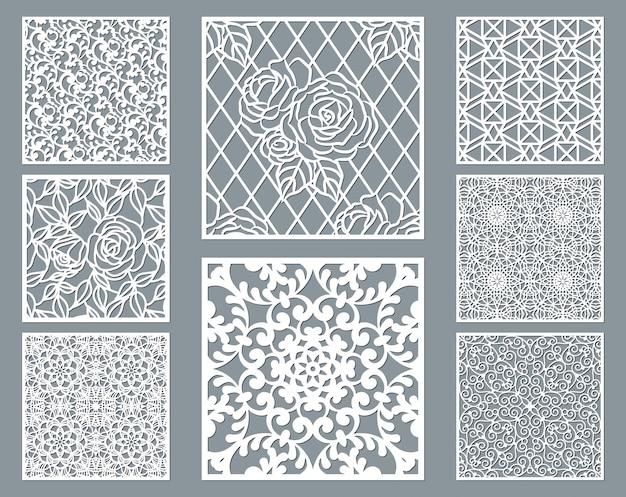 Zestaw Dekoracyjny Panel Wycięty Laserowo Z Wzorem Koronki, Kolekcja Kwadratowych Szablonów Ozdobnych. Premium Wektorów