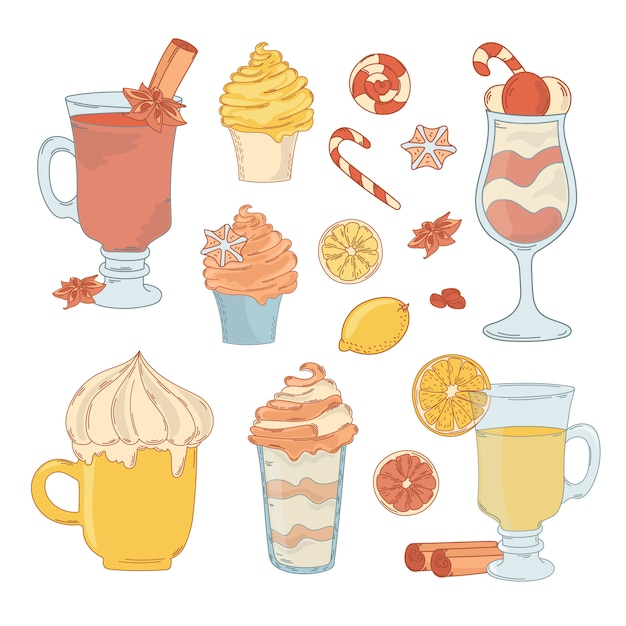 Zestaw Dessert Premium Wektorów
