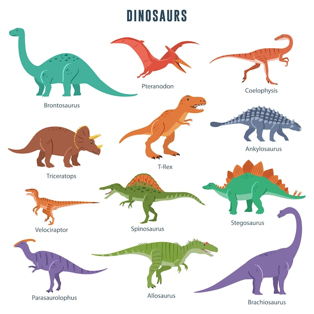 Zestaw Dinozaurów Premium Wektorów