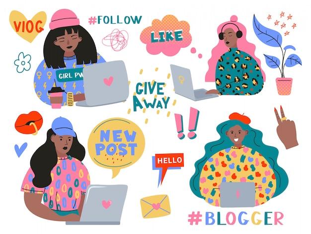 Zestaw Do Blogowania I Vlogowania. śliczne śmieszne Dziewczyny Lub Blogerzy Z Laptopem Tworzącym Treści I Publikującymi Je W Mediach Społecznościowych, Blogach Lub Vlogach. Pakiet Elementów Projektu Na Białym Tle. Premium Wektorów