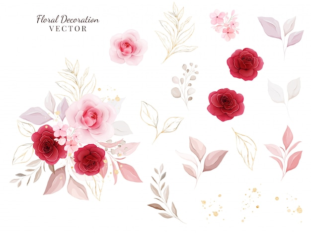 Zestaw Do Dekoracji Kwiatowych. Botaniczna Ilustracja Czerwone I Brzoskwiniowe Róże Z Liśćmi, Gałąź. Premium Wektorów