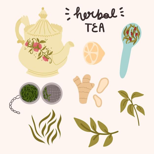 Zestaw Do Herbaty Ziołowej Kartka Okolicznościowa, Baner, Naklejki Itp. Premium Wektorów