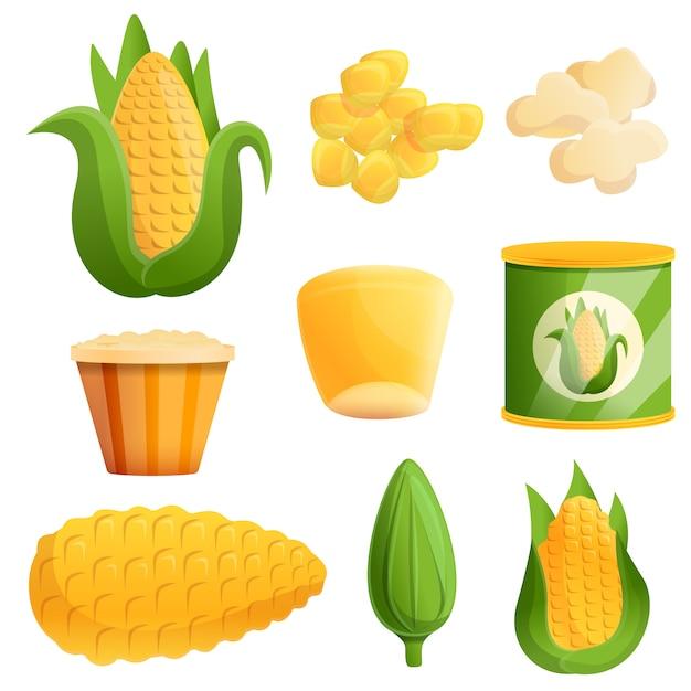 Zestaw do kukurydzy, styl kreskówki Premium Wektorów
