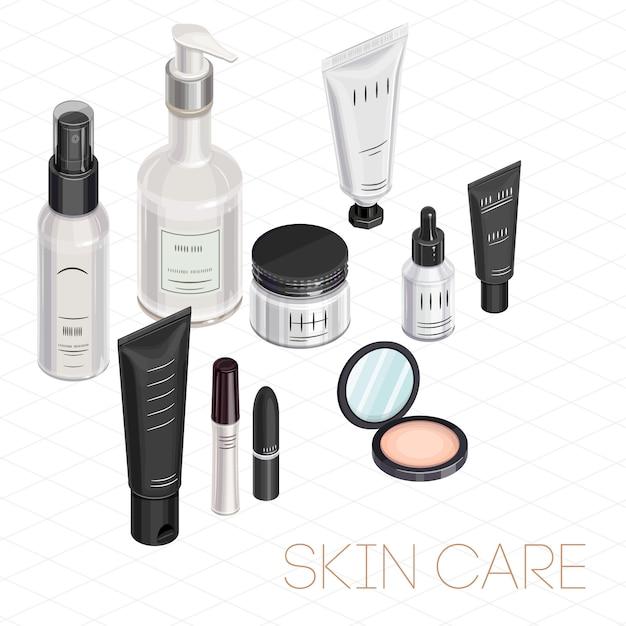 Zestaw Do Makijażu Izometryczny Premium Wektorów