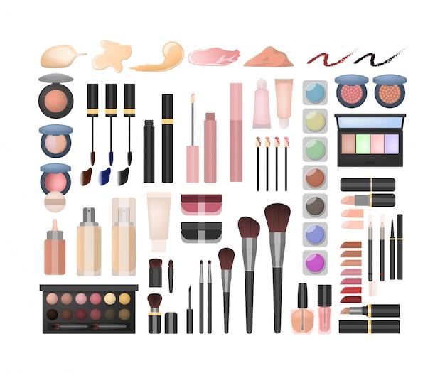 Zestaw Do Makijażu. Wszelkiego Rodzaju Kosmetyki I Kosmetyki. Premium Wektorów