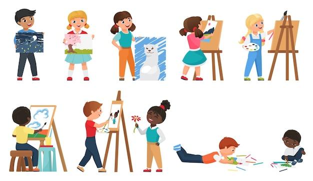 Zestaw Do Malowania Dla Dzieci Z Młodymi Artystami Rysującymi Kreskówki Za Pomocą Narzędzia Do Malowania Premium Wektorów