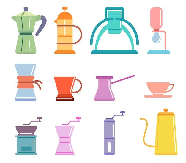 Zestaw do parzenia kawy w kolorze soft color flat coffee Premium Wektorów
