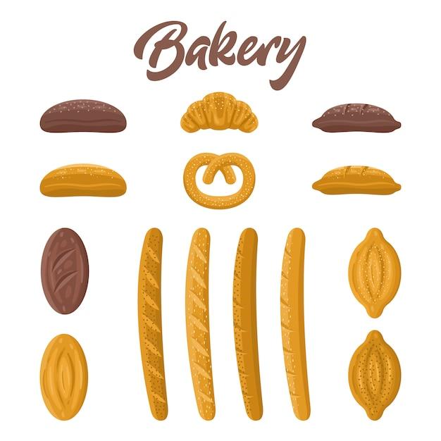 Zestaw Do Piekarni. Różne Rodzaje Chleba Premium Wektorów