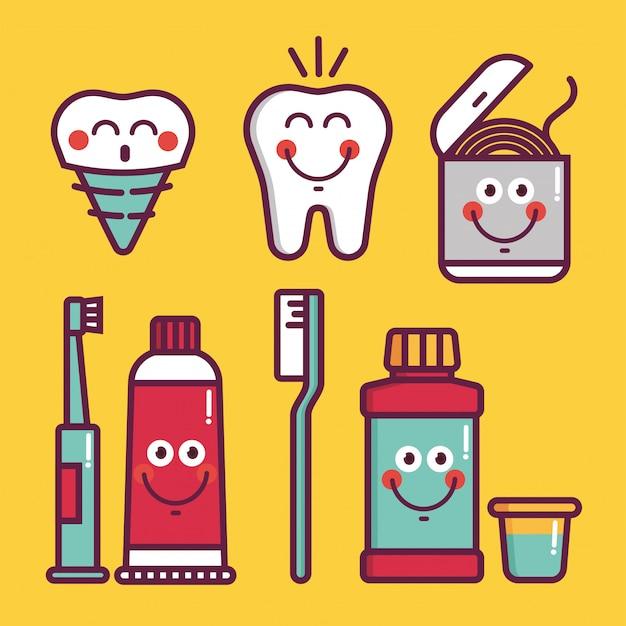 Zestaw Do Pielęgnacji Jamy Ustnej Dla Dzieci. Higiena Jamy Ustnej Dziecka - Ikony Pędzle, Zęby, Pasta Do Zębów, Balsam, Nić Dentystyczna, Woda, Implant Protezy Premium Wektorów