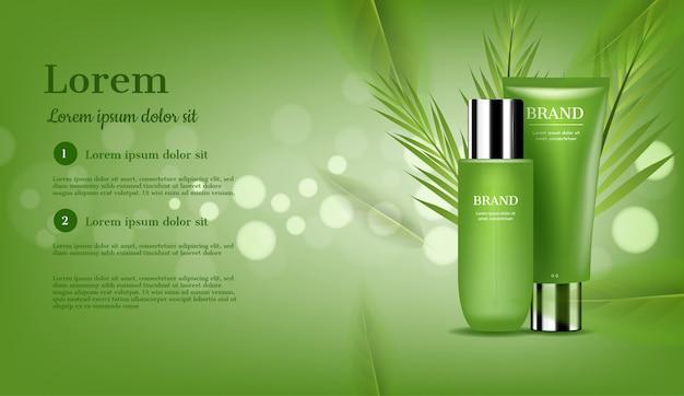 Zestaw do pielęgnacji skóry z zielonymi liśćmi i bokeh Premium Wektorów