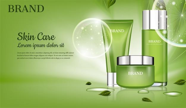 Zestaw do pielęgnacji skóry z zielonymi liśćmi i reklamą kosmetyczną z dużymi bąbelkami Premium Wektorów
