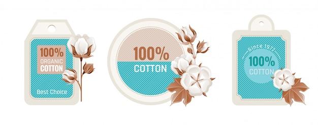Zestaw Do Projektowania Etykiet Z Bawełny Ekologicznej. Premium Wektorów