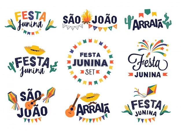 Zestaw do projektowania imprez festa junina Premium Wektorów