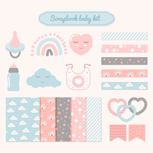 Zestaw Do Scrapbookingu Baby Shower Darmowych Wektorów