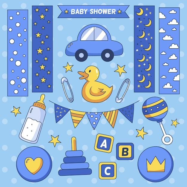 Zestaw Do Scrapbookingu Baby Shower Premium Wektorów