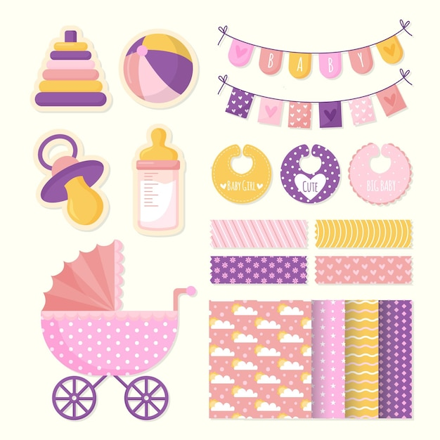 Zestaw Do Scrapbookingu Baby Shower Premium Wektorów