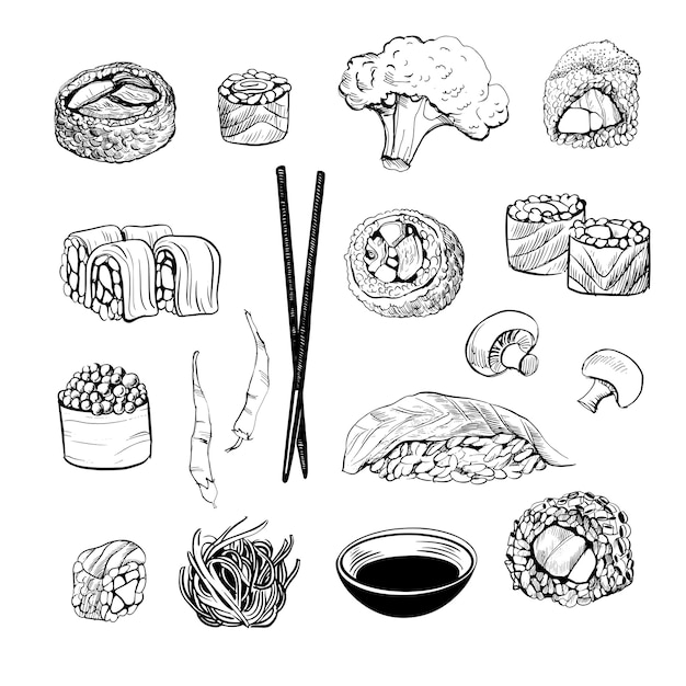 Zestaw Do Sushi. Szkic I Akwarela Premium Wektorów