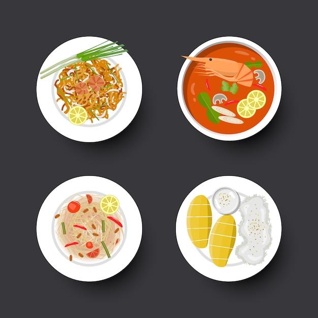 Zestaw do tradycyjnej kuchni tajskiej Premium Wektorów