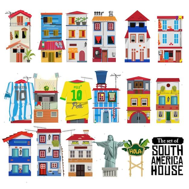 Zestaw domów w ameryce południowej Premium Wektorów
